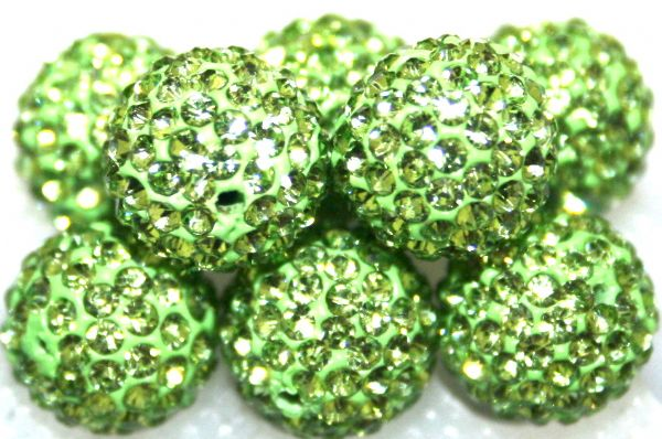 10mm Grass Green 115 Stone  Pave Crystal Beads- 2 Hole PCB10-115-013